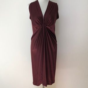 Rozae Nichols Silk Gathered Midi Dress